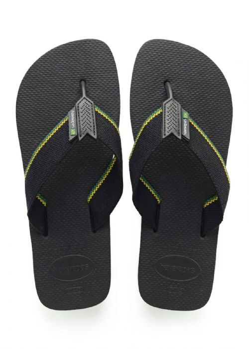 HAVAIANAS MENS FLIP FLOPS.NEW URBAN BRASIL WATER RESISTANT BLACK THONGS 9S 190 9